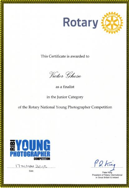 RIBI YOUNG PHOTOGRAPHER COMPETITION - The Finalist of the Junior Category of the RIBI Young Photographer Competition  certificate signed by RIBI President Peter King