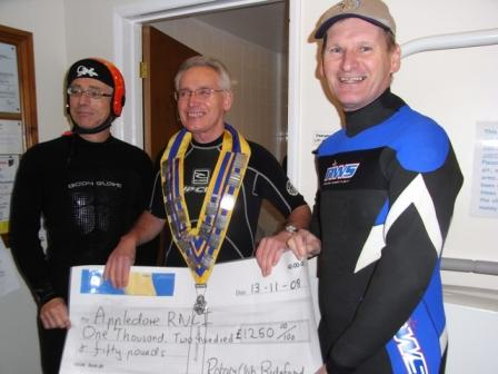 Rotary Gate Crash Appledore RNLI with £1250 -  Rubber and Cheques fit well
