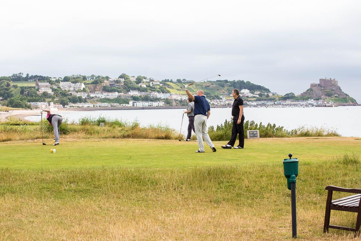 Conference Golf Competition - Royal Jersey Golf Club. - Mont Orgueil castle in the background