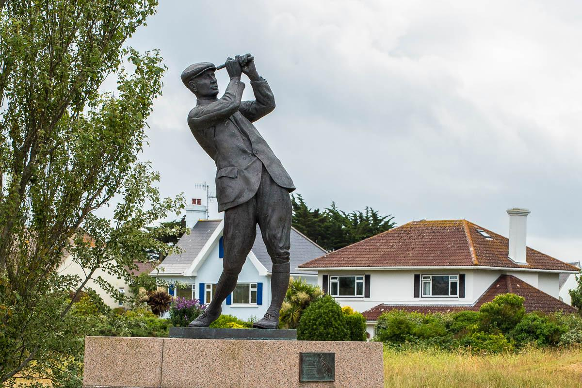 Conference Golf Competition - Royal Jersey Golf Club. - Commemorative statue at entrance to the Club