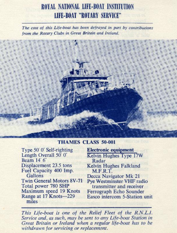 The Rotary Life Boat - Rotary Service - Falmouth & Dover, UK - with detailsed specifications - 1974