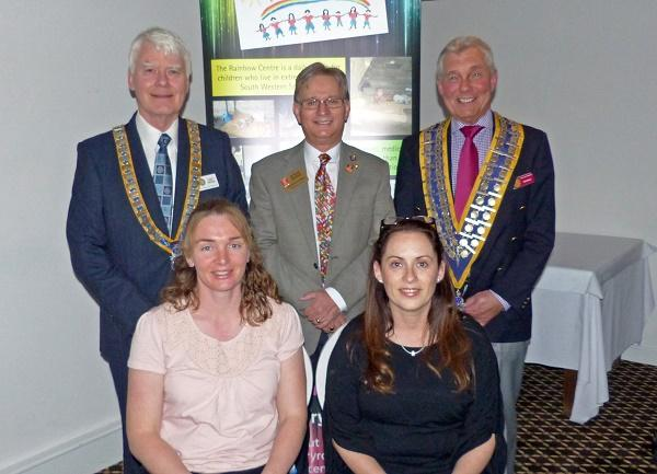 Rainbow Trust Teachers  - Karen Williamson and Tina Humber with Presidents John and Bob and Steve Munns, District Foundation Chairman and Tina