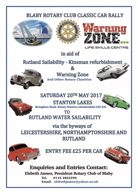 Classic Car Rally - Rally from Stanton Lakes to Rutland Water for Rutland Sailability, Warning Zone and other charities