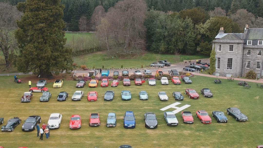 Perthshire Classic Car Festival - Eighty cars at Raemoir Hotel Banchory on Drive it Day 22nd April