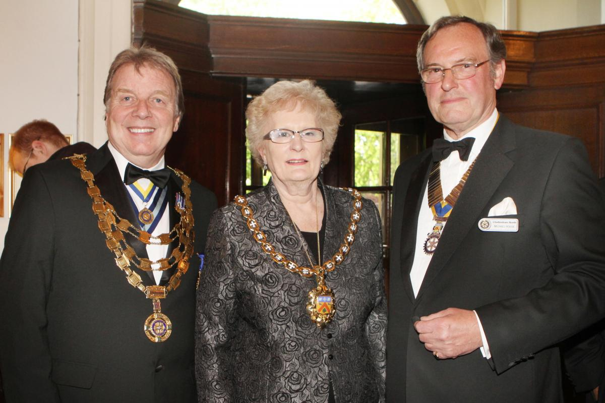Cheltenham North Charter Anniversary Dinner 26th April 2012 - Ray Burman Councillor Barbara Driver Mayor and Dr Michael Rouse