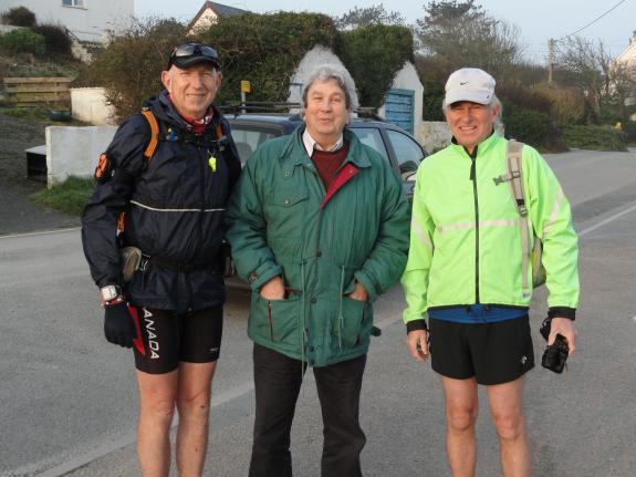 Marathons on South West Coastal Path - Martin (left) with David Laud (centre) the Quest 630 Logistics Manager