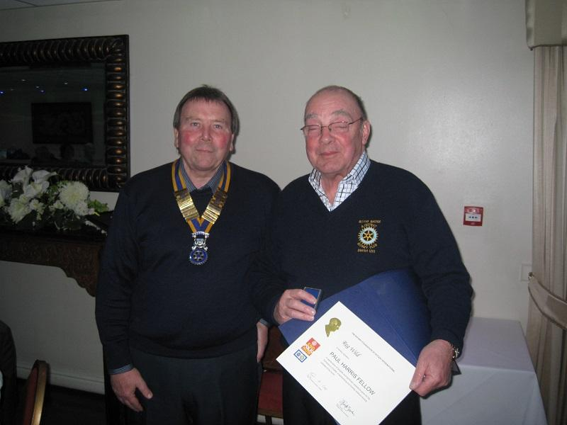Member Awards & Presentations - On the 3rd March club President Bill Durose awarded Reg Wild the Paul Harris Fellow for his long and outstanding service to Rotary over many years.