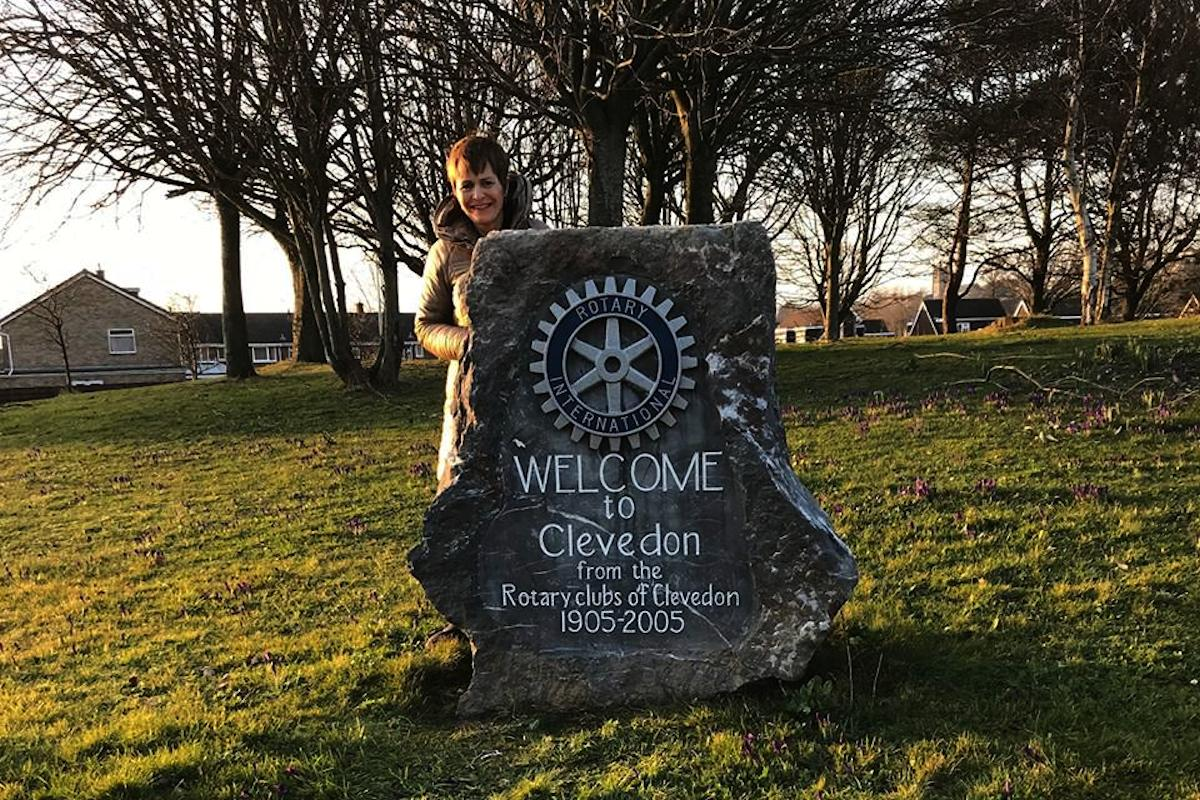 Gallery - Rotary Welcome Stone repainted by Helen and and early Purple 4 Polio crocus display