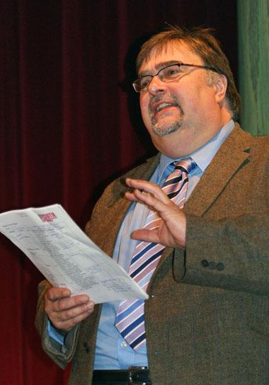Youth Speaks Pictures 2014-15 - Richard Bearne gives the judges' comments in the intermediate section.