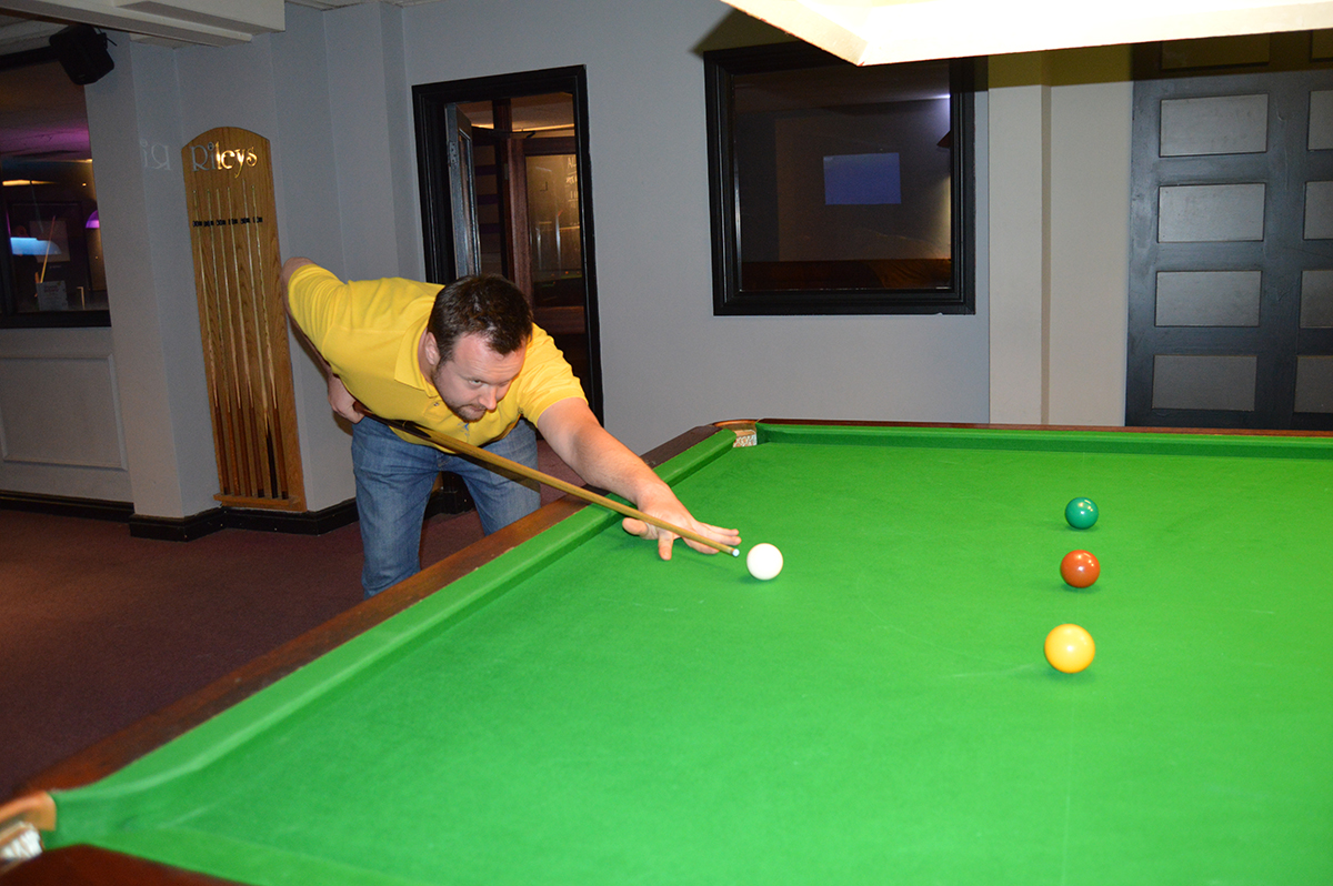 Annual Snooker Match v Abbeydale Rotary Club - Rob shows how it's done.