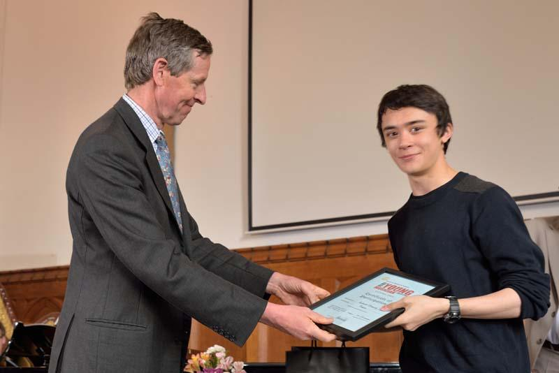 Robert wins RIBI Young Musician!   - Colonel Edward Bolitho presented framed certificates to all competitors