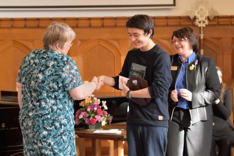 Robert wins RIBI Young Musician!   - Watched by Donna Walbank, Robert is congratulated by adjudicator Frances Eager