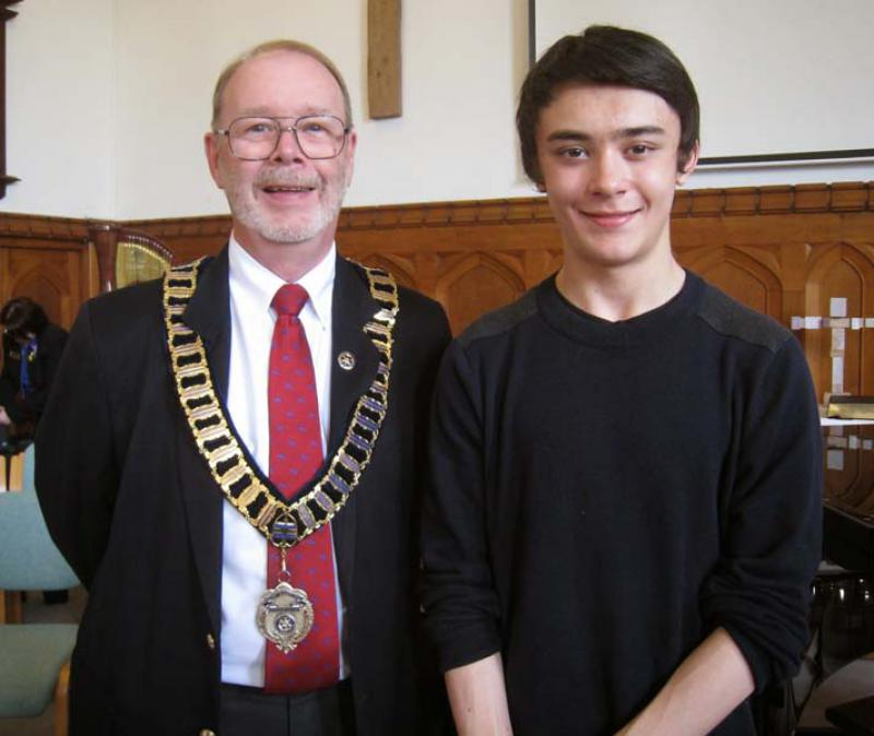 Robert wins RIBI Young Musician!   - Robert Cheung with Thames Valley District Governor, John Greening