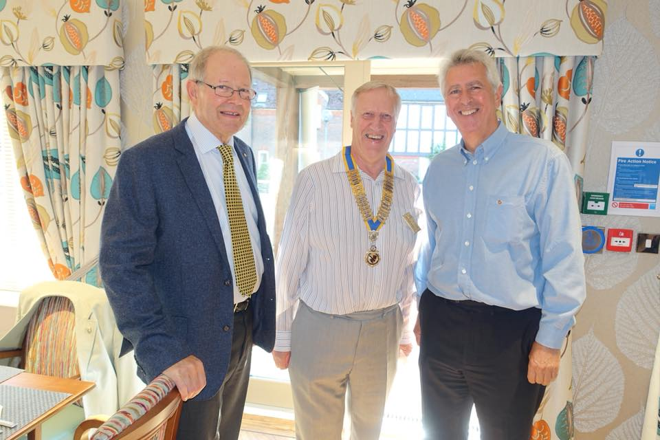 Chartering of Wych-Malbank Nantwich Rotary Club - Rod Stokes, President Michael and Mike Constable