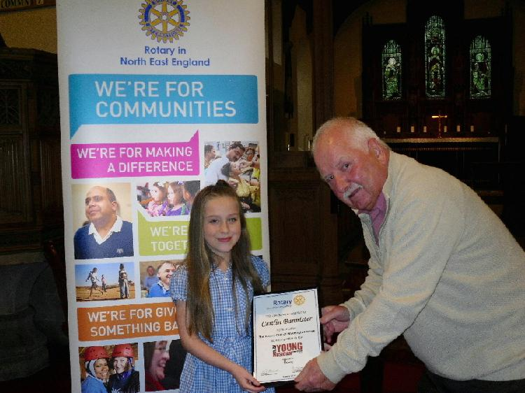 Young Musician 2015 - District Final - Ron presents Caitlin with a certificate from the Club