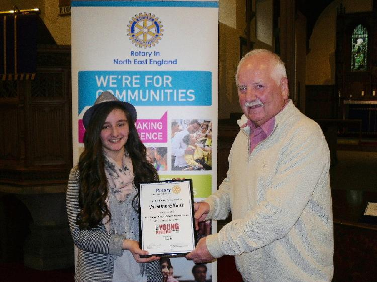 Young Musician 2015 - District Final - Ron presents Jasmine with a certificate from the Club
