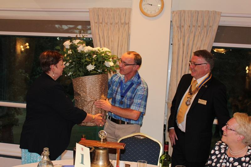 Ross Rotary Club Handover Dinner - Roses for Tina