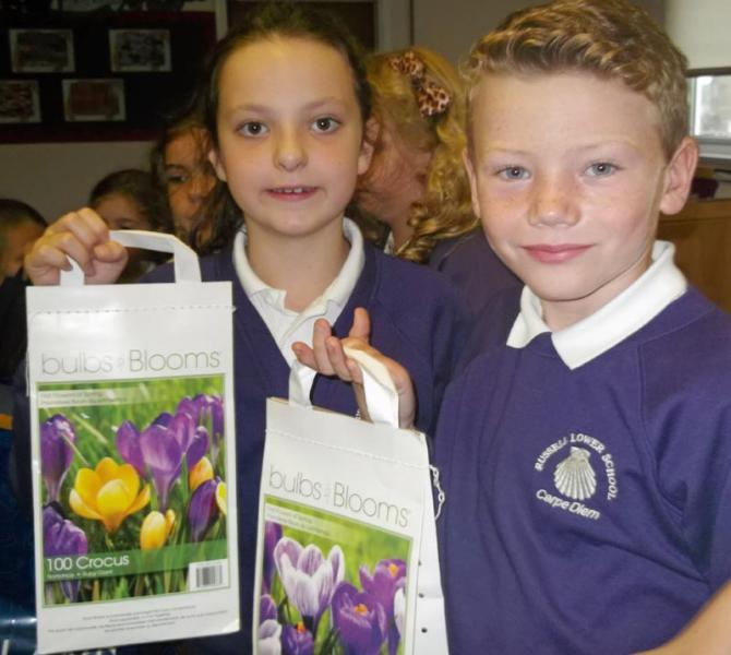 We're for Communities - Rotakids planted crocus bulbs for End Polio Now month
