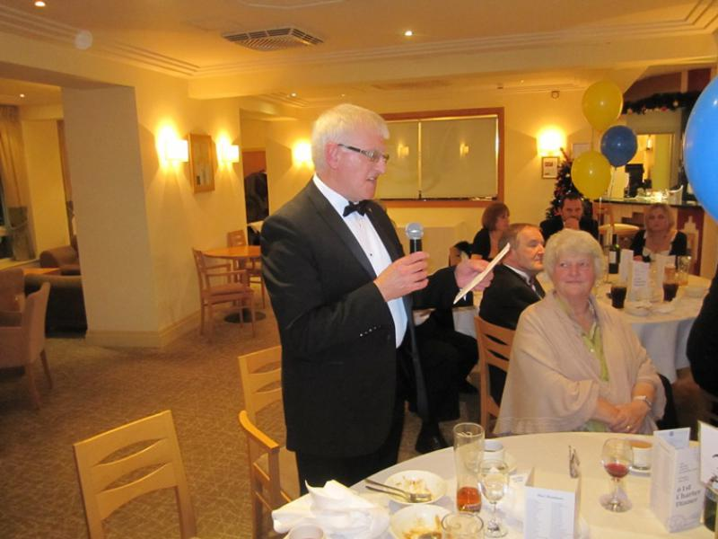 BLACKPOOL SOUTH ROTARY CLUB 2013  CHARTER DINNER.  - Rotarian Trevor Bennett reads the 'Object of Rotary'.