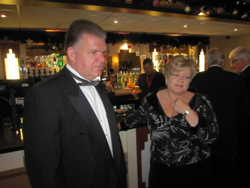 BLACKPOOL SOUTH ROTARY CLUB 2013  CHARTER DINNER.  - Rotarians Roger and Jacqui Longden in thoughtful mood.
