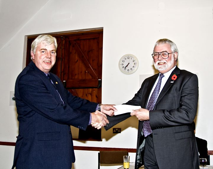 Presentation of Cheques 2008 -  Cheque being presented to Andrew Reid on behalf of Hearing Dogs.