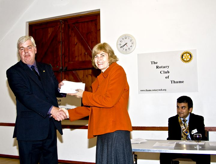 Presentation of Cheques 2008 -  Cheque being presented to Mrs Rushman on behalf of Daughters of Cambodia.