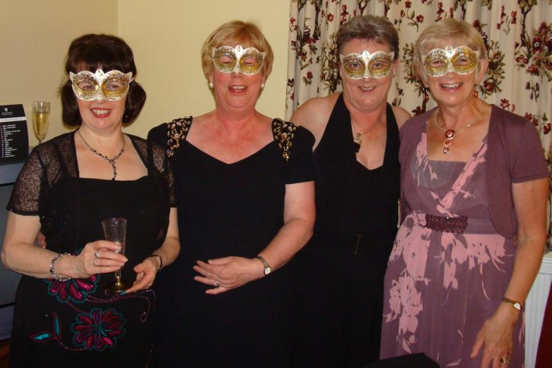 West Fife at District Conference 2012 - Rotary Conference 2012 Aviemore - Margaret, Roseann, Linda & Jennifer ready for the Masked Ball