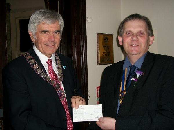 District Governor visits Bourne St. Peter on 27th November 2012 - The Charity DEBRA supports individuals and families affected by Epidermolysis Bullosa, a painful genetic condition which causes the skin to blister and shear.