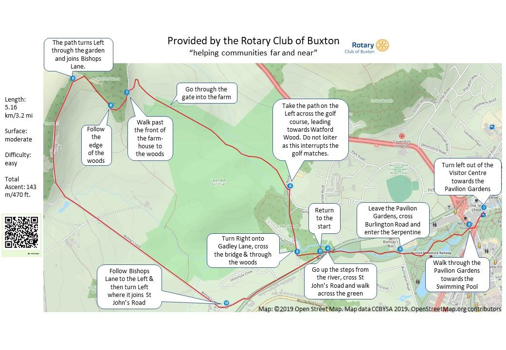 Rotary Short Walks Around Buxton  - Map 1