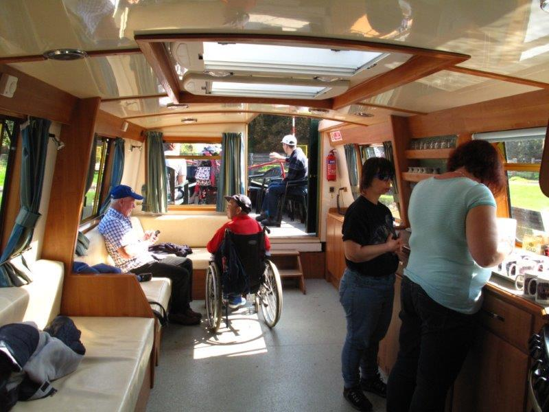 Webcas Drop-in Centre - 2014 Barge Trip - spreading out aboard the spacious Rebecca Barge