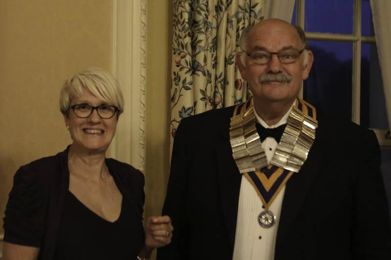 A new Rotary Year begins - Incoming President Clive Smitheram inducted by Carol Caiger
