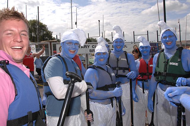 Annual Dragon Boat Festival -  Runners-up 2008, The Smurfs - a team from the new Rotary Club, Bristol Bridge
