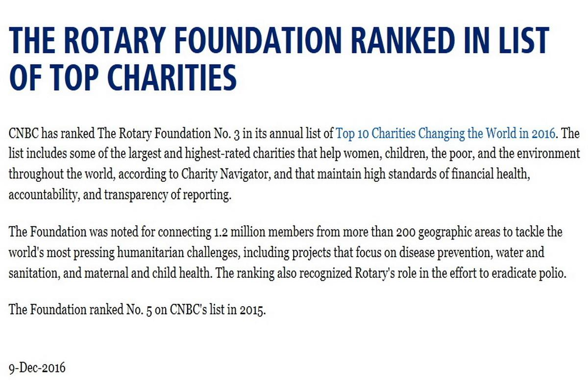 The Rotary Foundation - CNBC 2015 List of Top 10 Charities Changing the World. Number 5: Rotary Foundation
