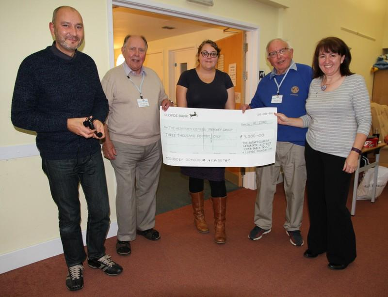 Fund Raising - £3000 Chq presented to the Trustees of the Henhayes Centre for The Memory Group for fundsraised in 2015/2016