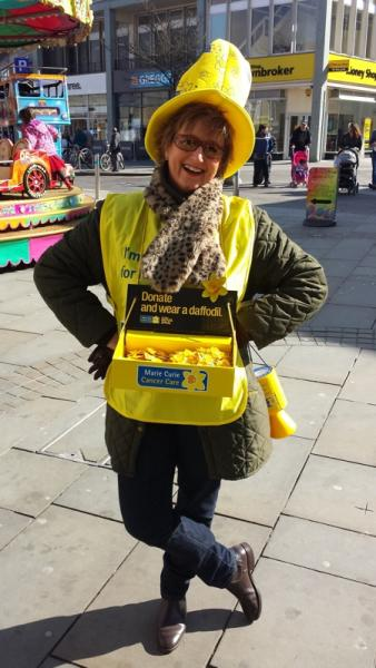 Weston Rotary  Club - Who are we?  - Rtn Joyce Oliver collecting for Marie Curie in Weston town centre