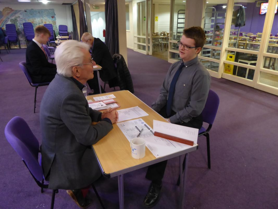 Mock Interviews in Wrexham Schools - Rot Graham Watson interviewing at Rhosnesni HS