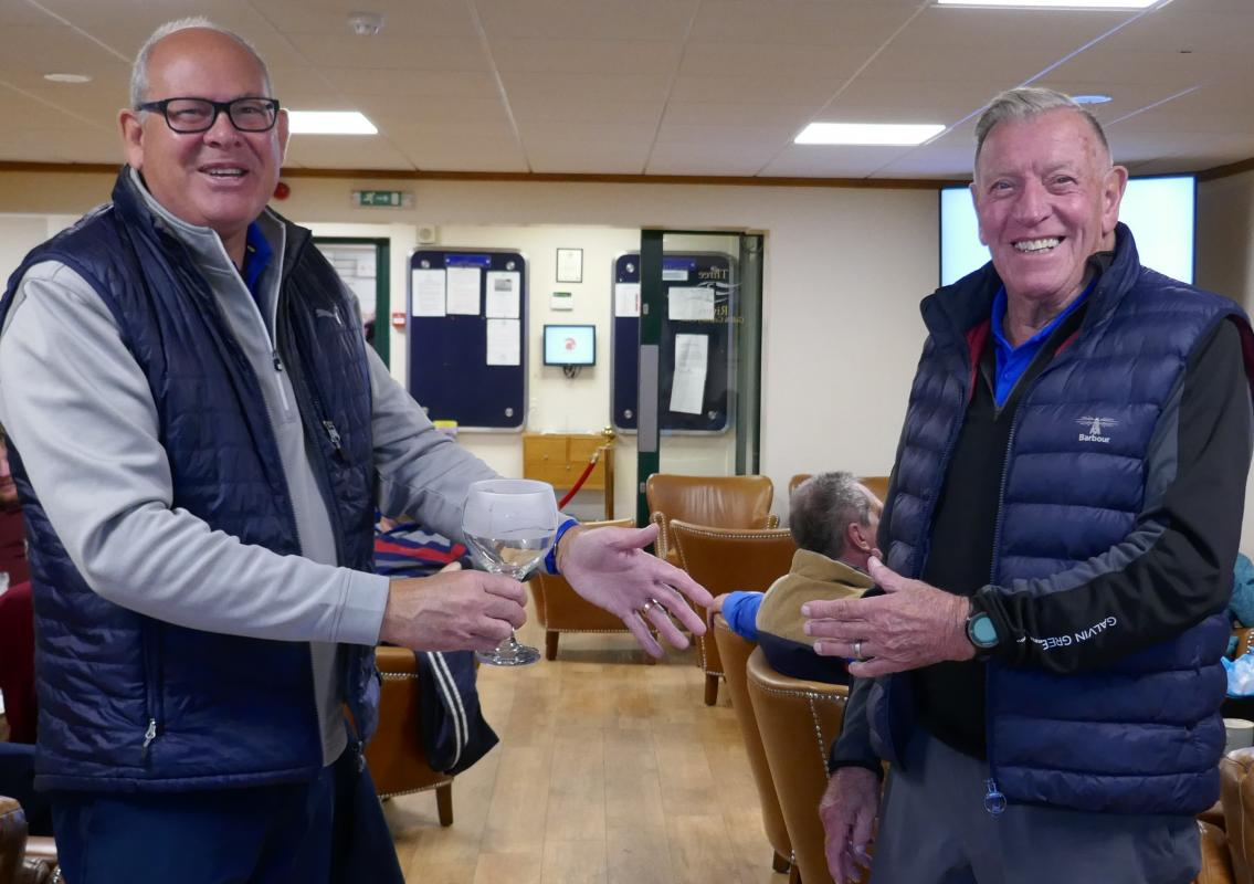 Club Golf Champinship - A Shackleton win in Antarctic Conditions - Runner-up Martin Hodson receives his prize from organiser Dave Jarvis