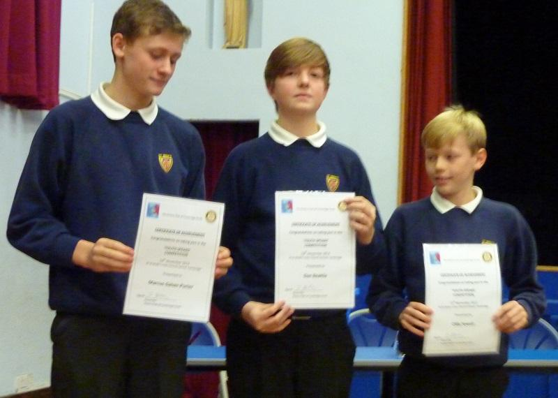 Nov 2013 Rotary Youth Speaks 2014 - Runnersup - St Bedes B Team - Ollie, Dan and Marcus