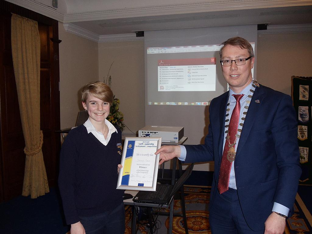 Community Activities - Club President presents YLD award