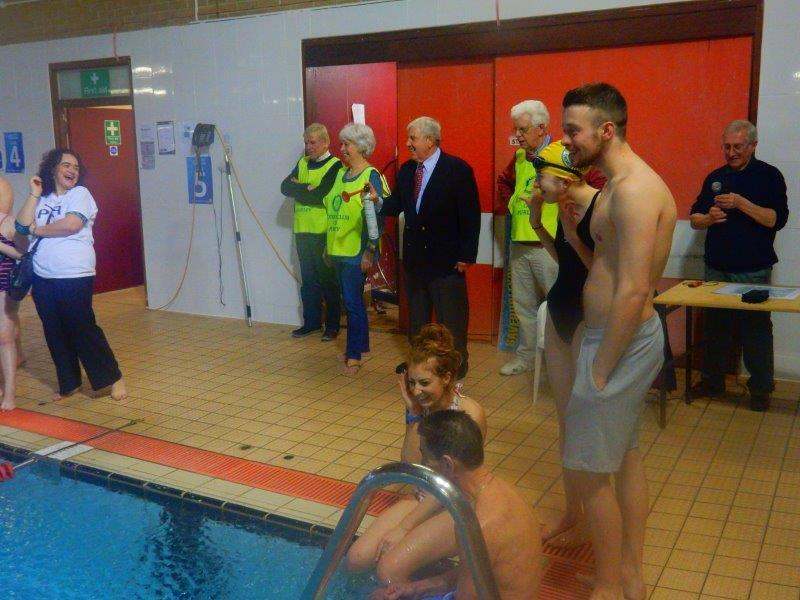 Purley Swimathon - 2016 - Getting Day 1 underway - Campaigner for 'Keep Purley Pool (And Car Park) Open' = Fred Wallis.