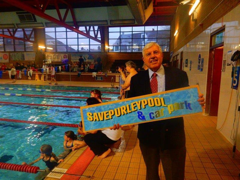 Purley Swimathon - 2016 - Fred Wallis and a campaign banner to Keep Pool and Car Park Open