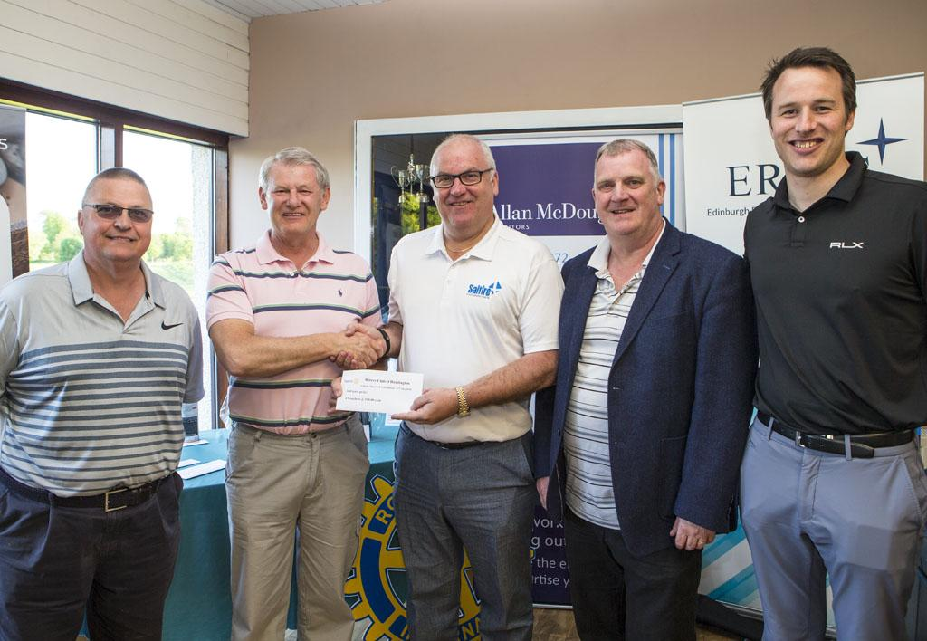 Charity Golf Competition Results - Saltire Executive shown receiving their 2nd prize from Alex Mackie