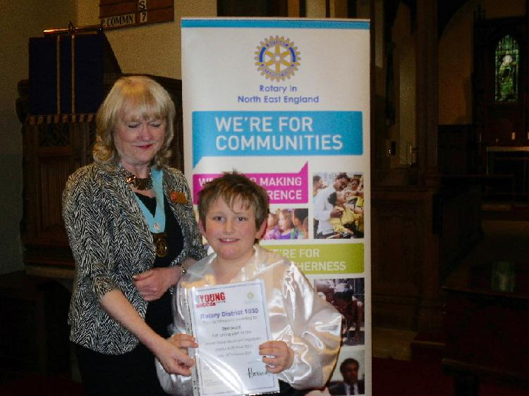Young Musician 2015 - District Final - DG Jean Thompson presents Sam with his certificate from District 1030