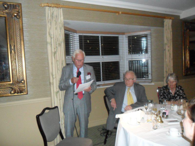 Cheque Presentation Evening - 18th Sept. 2014 - President David Fincham addresses the meeting of 54 diners.
