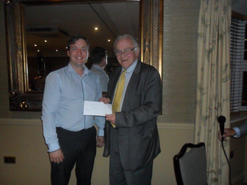 Cheque Presentation Evening - 18th Sept. 2014 - Ben Long receives a cheque for Kids Inspire