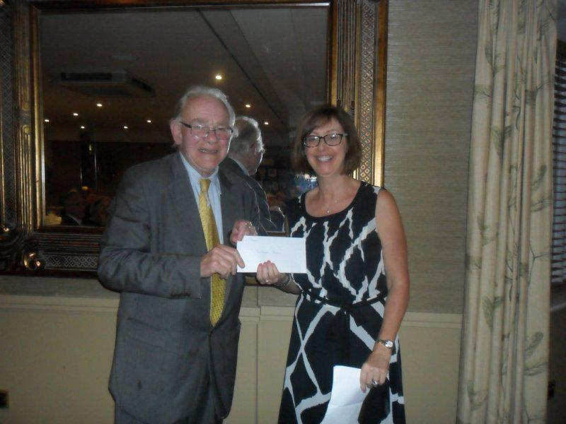 Cheque Presentation Evening - 18th Sept. 2014 - Alison Stevens receives a cheque for Farleigh Hospice
