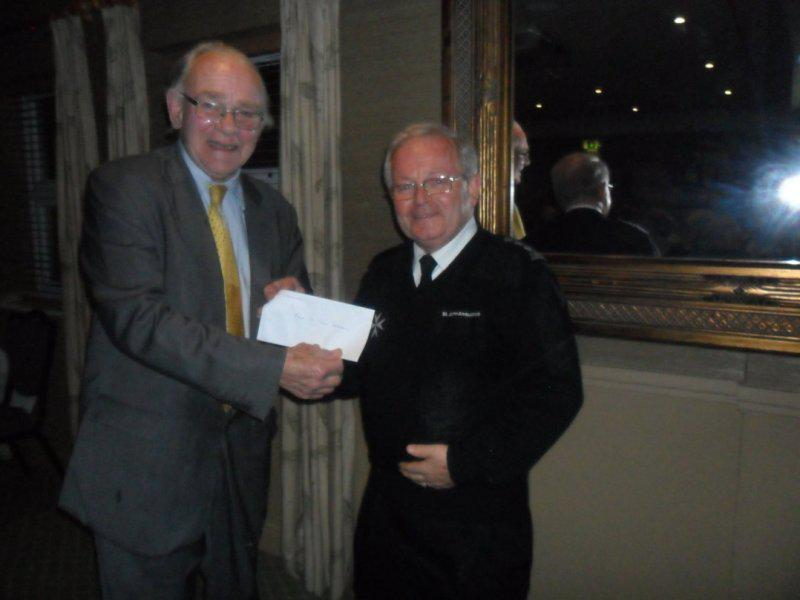 Cheque Presentation Evening - 18th Sept. 2014 - Peter Weathersby of Essex St. John Ambulance