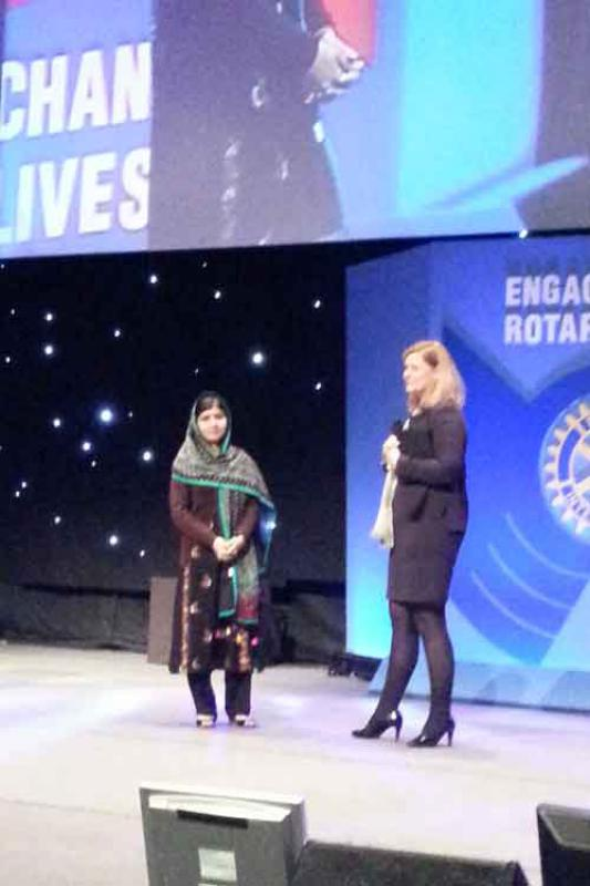 RIBI CONFERENCE REPORT - Malala being introduced by Sarah-Brown