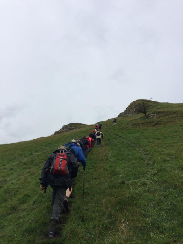 Derbyshire 2016 - A very sharp ascent up to Alstonefield at the end of a great first walk