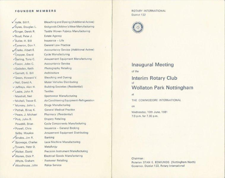 Inaugural Meeting 1981 - Pages 1 & 4